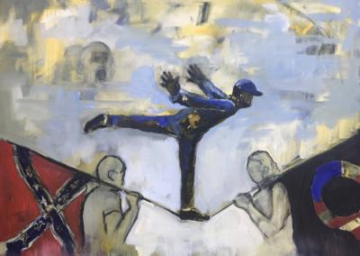"""Elaine McCreight, """"Pushback"""" Oil on Canvas 18x24 $520"""