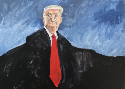 """Samuel Noily, """"After Portland, At What Price 2020?"""" Acrylics on Canvas 20x20 NFS"""