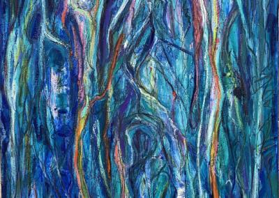 """Bonnie Raphael, """"Blue Charge"""" Oil Paint, Oil stick, Graphite 40x30 $1700"""