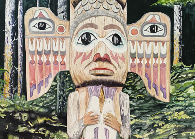 "Sally Robert, ""Fog Woman"" Watercolor 30x23 Archival Giclee $500"