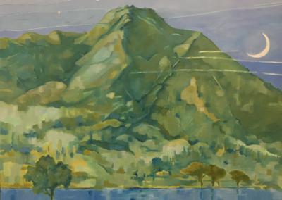 """Julia Ross, """"Thin Moon setting Over Mt. Tamalpais"""" Oil on Canvas 24x36 $1200"""