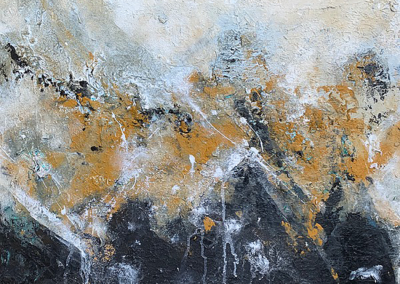 """Charlene Steen, """"Moodscape in Black and Gold"""" Acrylic and wood Chips 24x30 $280"""
