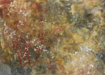 """Paula Valenzuela, """"The Remembering of the Soul"""" Mixed Media on Canvas 36x60x2 $3200"""