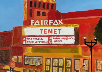 "Marilyn Waldman, ""Fairfax Theater"" Oil Paint 26x26 NFS"