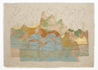 """Linda Wong, """"Mountains & Rivers"""" Embroidered Monoprint Collage 16x25 $750"""