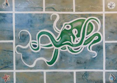 "Debby Dernberger, ""Octopus Marbling"" Acrylic on Canvas 30x40 $350"