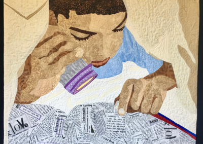 """Ora Clay """"Reading Under the Covers"""" Art Quilt, 30x32 $900"""