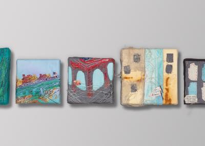 "Julia Feldman ""Emigration Heptad"" (series of seven) Mixed media, stitched, painted, cotton, linen, silk, metal, 12x40 $1900"