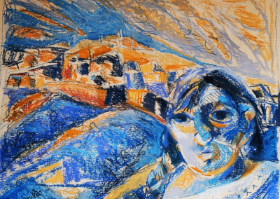 "Rose Freeland ""Girl at the Border"" Pastel, 14x18X12 $3500"