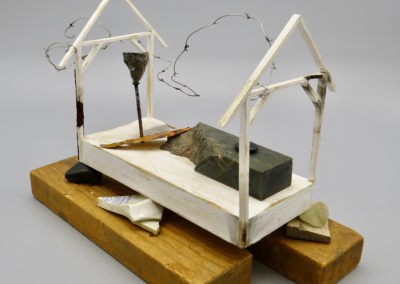 """Rosemary Ishii MacConnell """"My Father's Journey  Series:  Sorrows of the Chrysanthemum"""" Wood jade, porcelain, stone, silver wire, pod, metal, 9x11x8 $2500"""