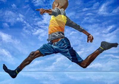 "Guy Joy ""The Leap"" Acrylic on canvas, 48x36 $6900"