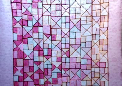 "Miran Lee ""Waiting Spring"" Korean silk, hand-sewn, 49x48 $8000"