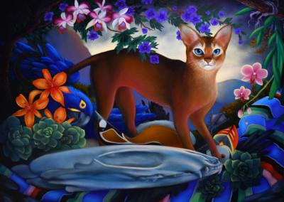 """Ryan Martin """"More Koshka Than Gato"""" Oil on Canvas, 36x48 $10000"""