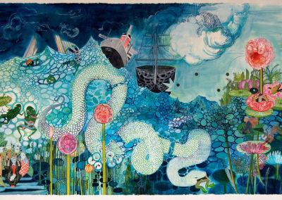 "Samantha Simpson ""Saga 2"" Watercolor, ink on paper, 51x92 NFS"