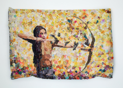 """Blair Treuer """"Evan"""" Fabric and Thread mounted to wire, 43x63x4 $7850"""
