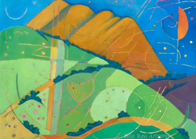 "Black Mountain from Bolinas Ridge, oil on canvas, 22 x 28"", $450"