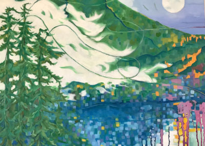 "Blue Moon, October evening, oil on canvas, 30 x 20"", framed $2200"