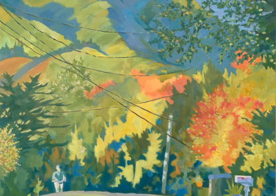 "Fall afternoon on Throckmorton Ave, oil on canvas, 30 x 24"", $1200"