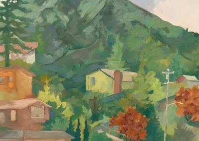 "Mt Tamalpais from Almonte, oil on box panel, 17 x 17"", $500"