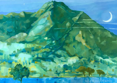 "Thin moon setting over Mt Tamalpais from Hauje Park, oil on canvas, 24 x 36"", NFS"