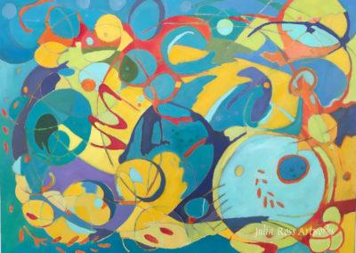"Winter jazz, oil on canvas, 30 x 40"", framed, $2400"