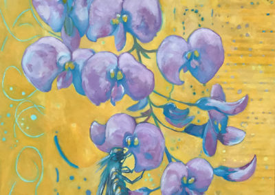 "Wisteria visitor, oil on canvas, 40 x 30"", SOLD"