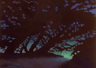 "Chris Adessa ""Night Vision"" Oil on Panel, 12x12 $950"