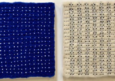 "Linda Belden ""Homage to Agnes Martin"" Fiber, 10x22 $500"