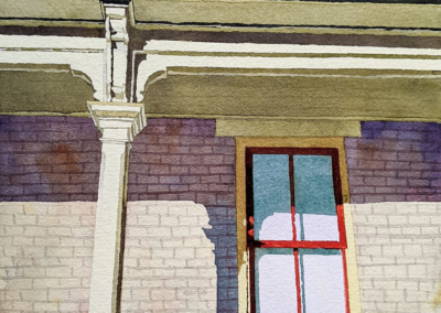 """Amy Bennion """"Porch on Quince Street"""" Watercolor, 13.5x9.5 $NFS"""