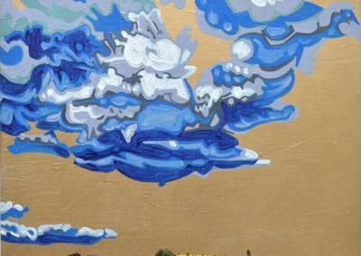 "David Disko ""THUNDERHEAD"" Spray paint and oil on re-purposed canvas, 16x20 $600"