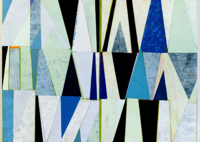 """Nancy Egol Nikkal """"Triangles blue and white diptych"""" acrylic on panel, 24x32 $1600"""