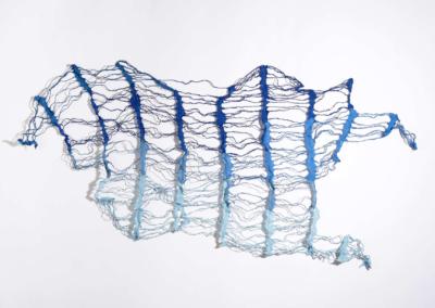 "Deborah Benioff Friedman ""Reticulate Blue"" Mulberry paper, thread, 28x52 $1250"
