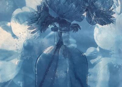 "Claudia Hollister ""Anemone in Blue"" Cyanotype print, 11x8 $350"