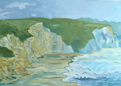"Drake's beach, oil on canvas, 24 x 36"", $800"
