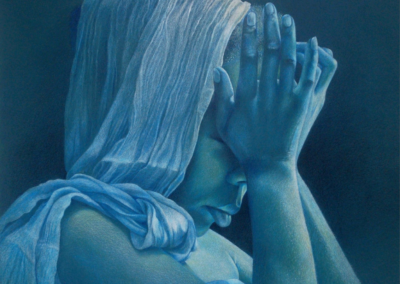 """Kate Lagaly, CPX, CPSA """"Cerulean Blues"""" Colored pencil on mat board, 16x18 $695"""