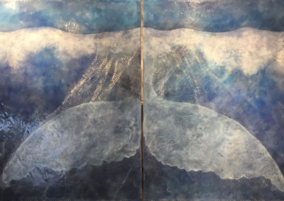 """Laura Lovitt """"Ghost"""" Oil stick, bees wax and damar resin on panel; diptych, 40x60 SOLD $4200"""