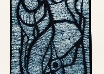 """Glenda Mah """"Family"""" Mokume Shibori, stitched on cotton and handyed in Indigo, 22x18.5 $200"""