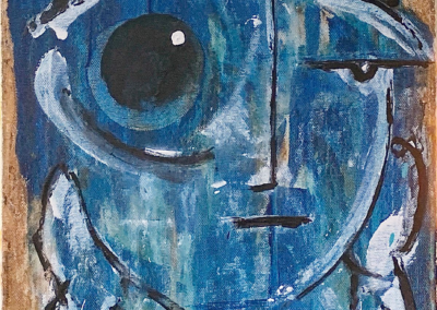 """Dave Manousos """"Blue State of Mind"""" Acrylic on Wood, 12x16 $350"""