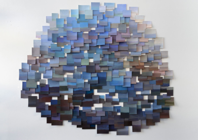 """Caryn Martin """"Blue"""" installation of acrylic paintings on paper, 57x67 $NFS"""