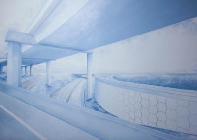 "Taylor McAllister ""Hayward"" Acrylic on wood panel, 47.5x71.5 $2500"