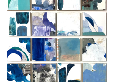 """Erin McCluskey Wheeler """"Blue Aggregate"""" Painted and found paper collages mounted on 16 4x4 panels, 18x18 $600"""