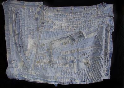 """Bob Mosier """"Welders Landscape 2"""" Old welding blue jeans, 100 cotton, 47x62 $2200"""