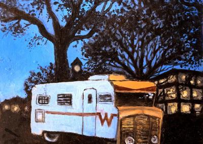 "Anne-Whitney Pennypacker ""Dusk on Campus"" Oil on Board, 6x4.5 $185"