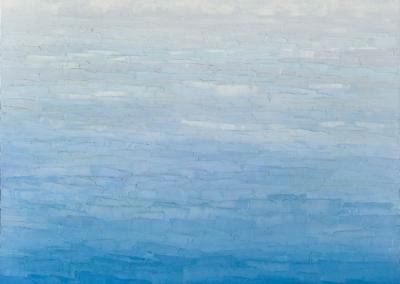 "Cathy Richardi ""Cloudy Blue"" Oil on canvas, 30x30 $1900"