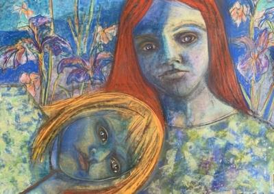 """Annette Sabater """"Blue Together"""" Pastel, graphite, 18x24 $300"""