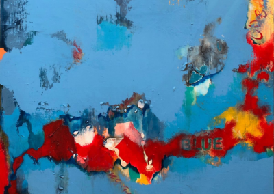 "P.K. Williams ""Blue Hue"" Acrylic on panel, 24x24 $600"